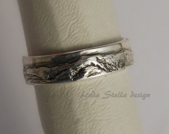 Wedding Band Mountain Landscape Mt. Washington Sterling 5 and 6.5mm scene all around two widths