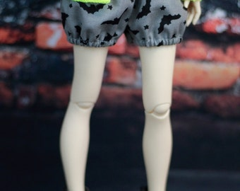 BJD Shorts for Minifee, Grey with Black Bats, 1/4 Size Doll Bubble Shorts Clothes