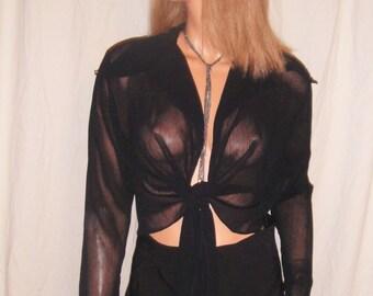 Vintage San Souci Black Sheer Tie Blouse L