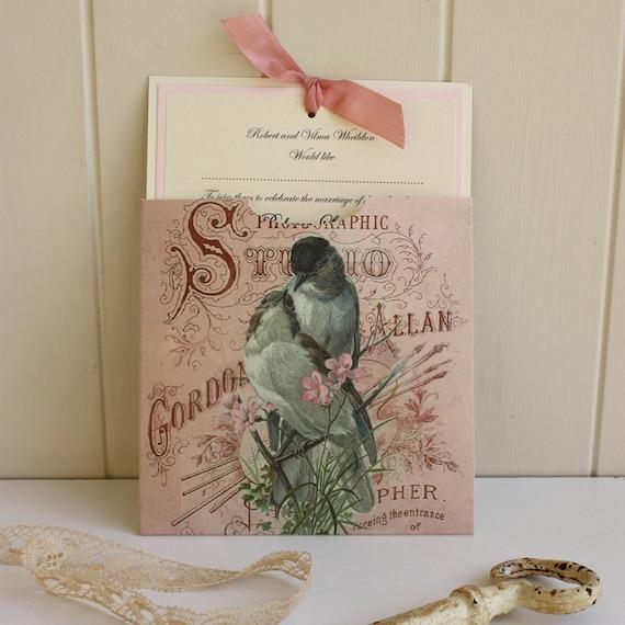 Vintage Wedding - English Country Wedding - Ivory and Pink Wedding Invitation - Handmade Personalised Wedding Invite - Bird Design