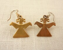 Vintage Gold Plated Ancient Bird Museum Replica Earrings with Hook Backs