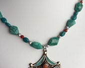 Necklace — Tibetan Pendant with Inlay Turquoise and Coral, Turquoise, Red Agate and Freshwater Pearls