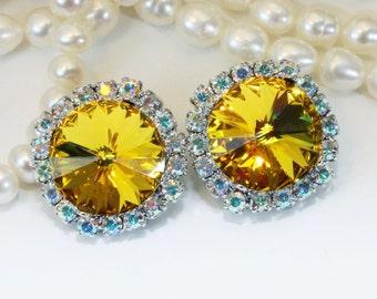 Yellow Clip On Earrings AB Swarovski Crystal Sunflower Yellow Citrine Canary Yellow Wedding 14mm Halo Rhinestone ,Silver,Sunflower,SE110