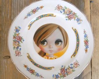 Blythe Doll Vintage Plate Altered Art