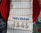 Embroidered  Kitchen Towel- Kelli's Kitchen w/ Coffe Cups- Kitchen, Personalized, Coffee