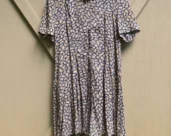90s vintage Grunge Navy Blue and Brown Floral Print Babydoll Romper / B.T. Express