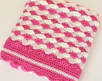 Crochet Pattern Baby Blanket Shells of Love use cotton, acrylic, wool - you choose INSTANT pdf DOWNLOAD with BONUS Frog Hat Pattern