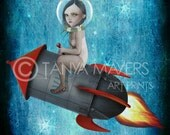 Aim For The Moon - Fantasy Art Print - Girl & Rocket