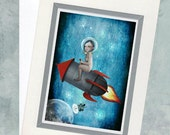 Greeting Card & Envelope - Girl Riding Rocket In Space - Aim For The Moon