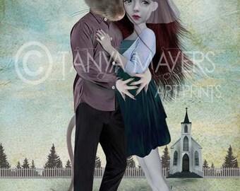 Lowbrow Art Print - Big Eyed Girl & Rat - Elope