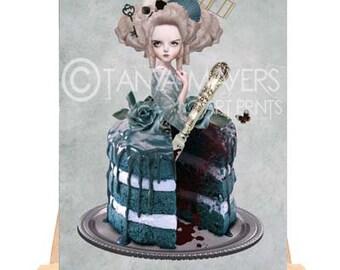 Artist Trading Card - Rococo Art - Marie Antoinette & Cake - Bitter Sweet
