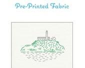OVAL - San Francisco's Alcatraz Island Pre-Printed Fabric