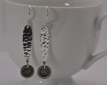 hammered silver earrings, dangly earrings, long sterling earrings, recycled sterling silver, eco friendly jewelry, modern earrings