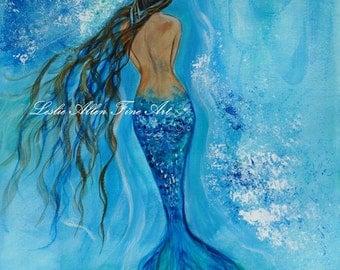 """Mermaid Art Print Mermaid Painting Print Mermaid Wall Art  Decor Ocean Underwater Fantasy Art Print  """"Peace Beneath"""" Leslie Allen Fine Art"""