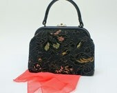 60's Kelly Style Bag / Tapestry Bag / Top Handle Bag / Embroidered Black Satin