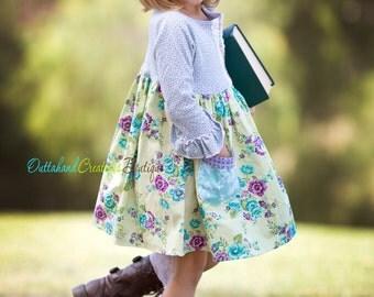 Girls Fall Posey Dress, Ready to Ship Sz 18-mo