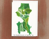The Neighborhoods of Seattle in Greens: Boxed Notes / Tote Bag / Notebook / Art Print