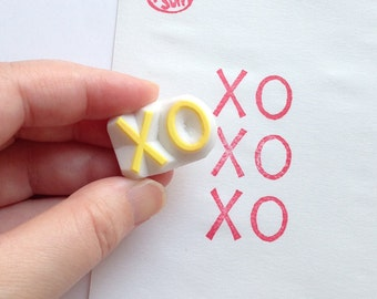 XO hand carved rubber stamp. kisses hugs hand lettered stamp. snail mail stamp. gift wrapping. card making. diy birthday wedding crafts