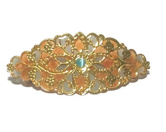 Hand Enameled Filigree Hair Ornament/Barrette in Tangerine and Blue