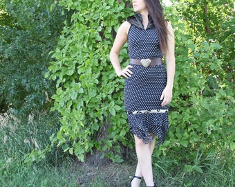upcycled clothing, slow fashion, hooded halter neck dress . take the long way home . XS