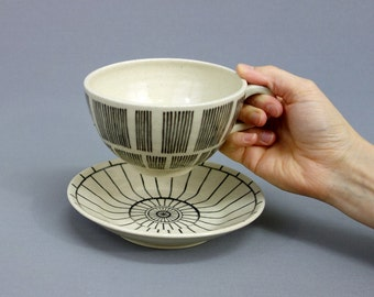 Death Star Geometric Cup and Saucer Set