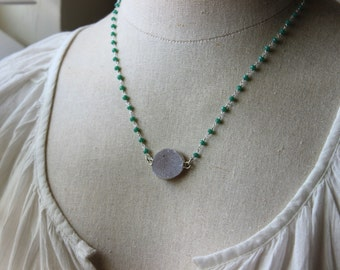 Pale grey purple Silver dipped Druzy and Chrysoprase hydro quartz Necklace, Wire Wrapped Rosary Chain, Necklace, teal Ocean, Summer