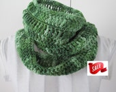 SALE Infinity Scarf, Green Tones, Ready to Ship, Christmas in July, CIJ