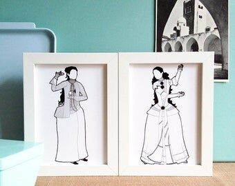 Oriental Costume - Set of 2 Art Prints / 5 x 7 Giclee, Qajar era Persia, islamic art, middle eastern dress, 19th century, silhouette drawing