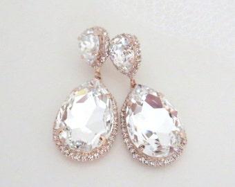 Rose Gold earrings, Bridal earrings, Bridal jewelry, Crystal earrings, Statement earrings, Swarovski earrings, Rhinestone earrings, Clear