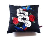 Rock and Roll Cushion, Rockabilly Throw Pillow, Swallow Tattoo Cushion, Novelty Cushion, Dorm Room Decor
