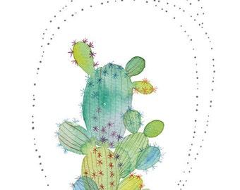 Colorful Cactus Dot Illustration Watercolor Painting Reproduction, Botanical Nature Plant Art Print Poster, Whimsical Plant Art, Cactus Art