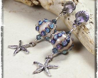 By the Sea ... Handmade Jewelry Earrings Beaded Lampwork Crystal Beach Sea Urchin Starfish Seashell Shell Lavender Purple Blue Cream Silver