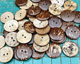 40 Coconut Buttons, 7/8 inch, Design on back, sewing, crafts, scrapbook