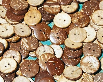 100 Coconut Buttons, 3/4 inch, aloha shirt, sewing, crafts, scrapbook, 2 hole coconut shell button