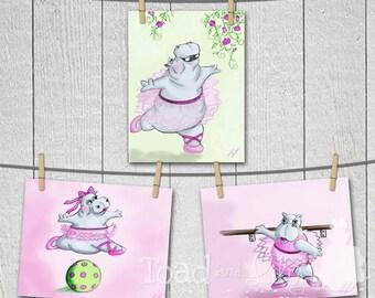 Set of 3 Hippo Ballerina 8 x 10 Art Prints by Little Monkey Doodles