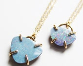 ON SALE Blue Opal Triangle Gold Necklace OOAK