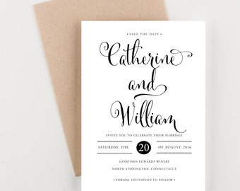 Classic Calligraphy Save The Date, Bridal Shower, Wedding Invitation