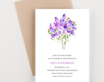 Lavender Bouquet Save The Date, Bridal Shower, Wedding Invitation