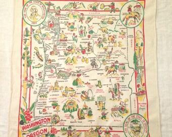 Washington Oregon State Tablecloth Map Yucca Print 1940s Souvenir