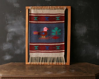 Vintage Wall Hanging Folk Art Style Weaving of Bird in Blue Red and Green In Frame From Nowvintage on Etsy
