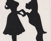 Boxer and Pin Up Silhouette, Black Vinyl Decal