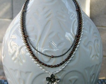 Layered Flower and Freshwater Pearl Necklace