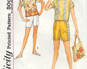 Simplicity 4796 - 1960s Simple to Make Tweens Short and Top Vintage Sewing Pattern Size 10