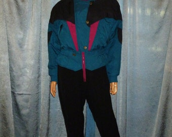 Vintage - 80's - Ossi - Color Block - Black/Bluish Green/Pinkish Purple - Hooded - Stirrup Leg - Snowboard - Jumpsuit - Ski Jumper - Size 10