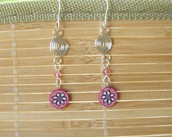 Handmade Silver Drop Earrings Pink Flower - Polymer Clay and Wire Jewelry for Women