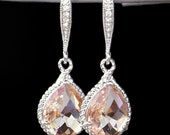 Beautiful Blush Crystal Teardrops Framed in Silver, Hanging From French Jeweled Earrings