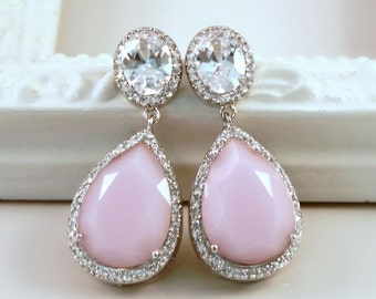 Vintage Petal Pink Teardrop Crystals Surrounded with Halo CZs on Silver Cubic Zirconia Post Earrings