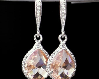 Beautiful Blush Crystal Teardrops Framed in Silver or Gold, Hanging From French Jeweled Earrings