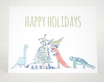 Dinosaur Christmas Cards, Dino Cards, Dinosaur Holiday Cards, Holiday Dinosaurs, Kids Christmas Cards