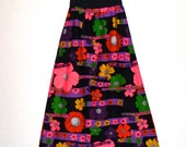 60s Neon Floral Maxi Skirt BOLD Op Art Floral Print Barkcloth Beeline Fashions Cotton Skirt Long Wide Elastic Waist L